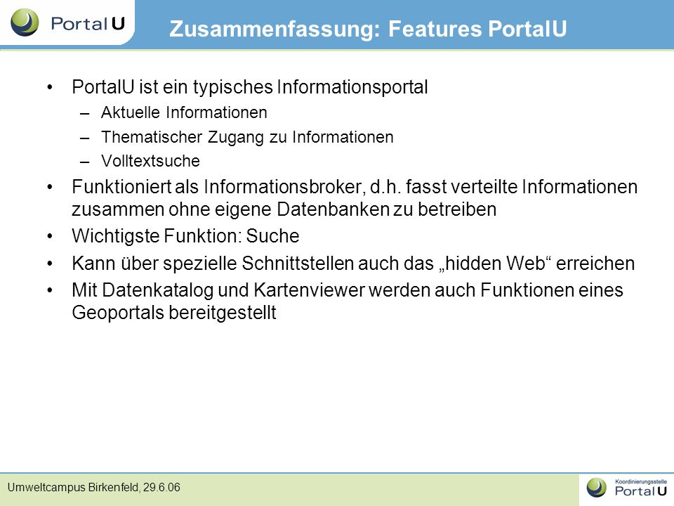Zusammenfassung: Features PortalU