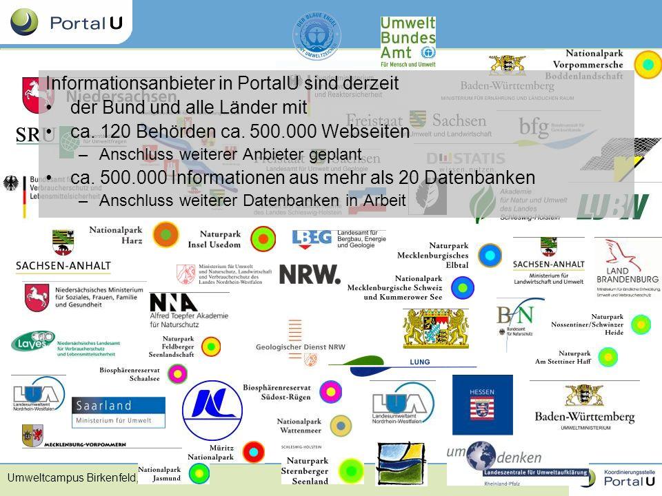 Informationsanbieter in PortalU sind derzeit