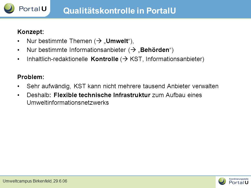Qualitätskontrolle in PortalU
