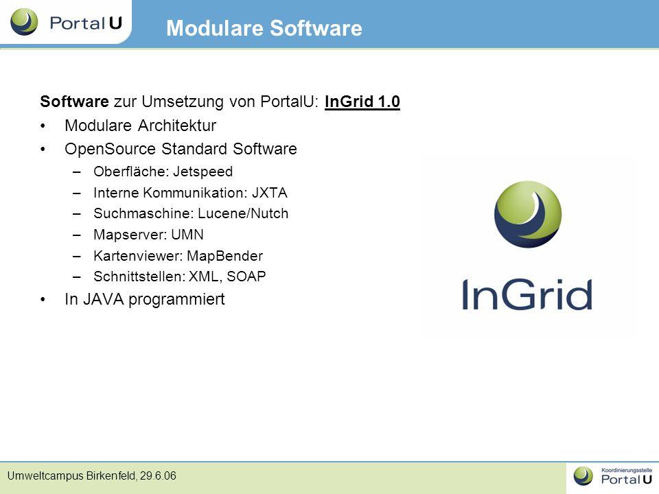 Modulare Software Software zur Umsetzung von PortalU: InGrid 1.0