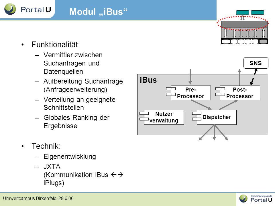 """Modul """"iBus Funktionalität: iBus Technik:"""
