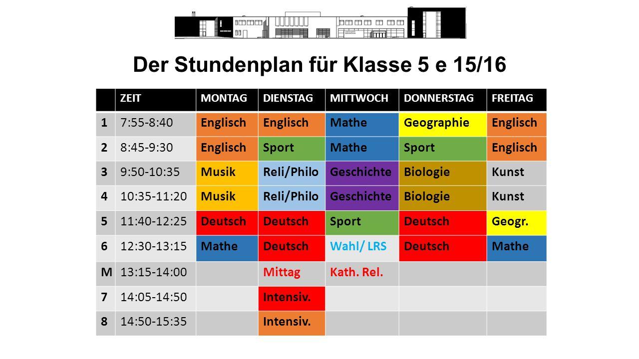 Der Stundenplan für Klasse 5 e 15/16