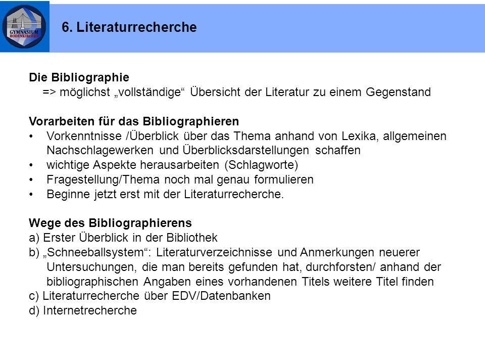 6. Literaturrecherche Die Bibliographie
