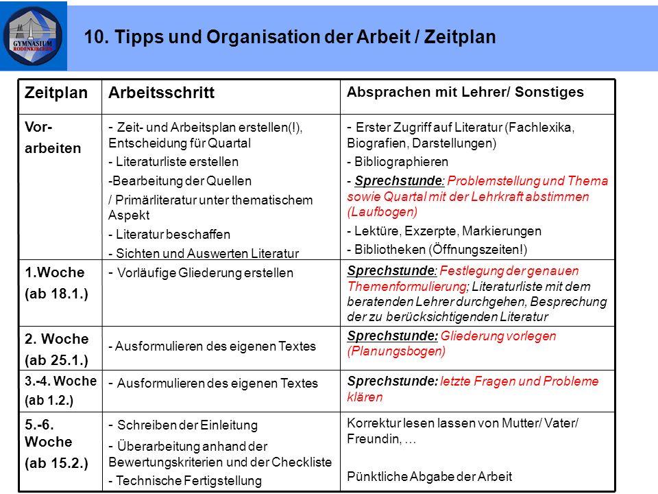 10. Tipps und Organisation der Arbeit / Zeitplan