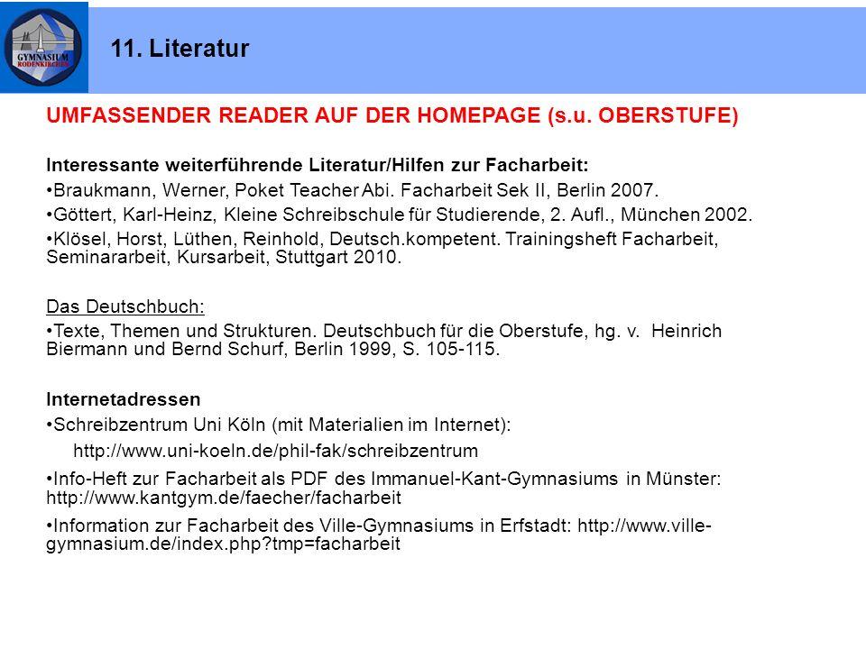 11. Literatur UMFASSENDER READER AUF DER HOMEPAGE (s.u. OBERSTUFE)