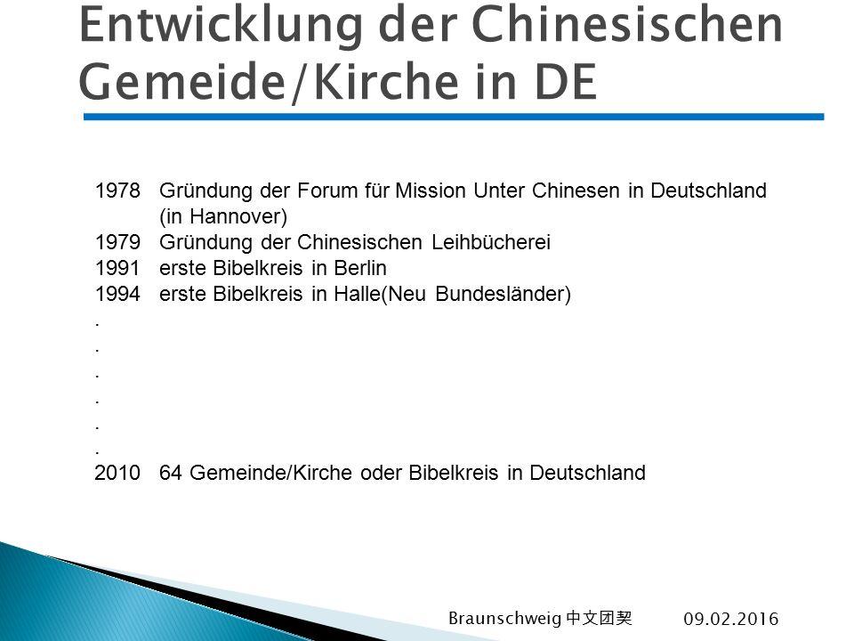 Entwicklung der Chinesischen Gemeide/Kirche in DE
