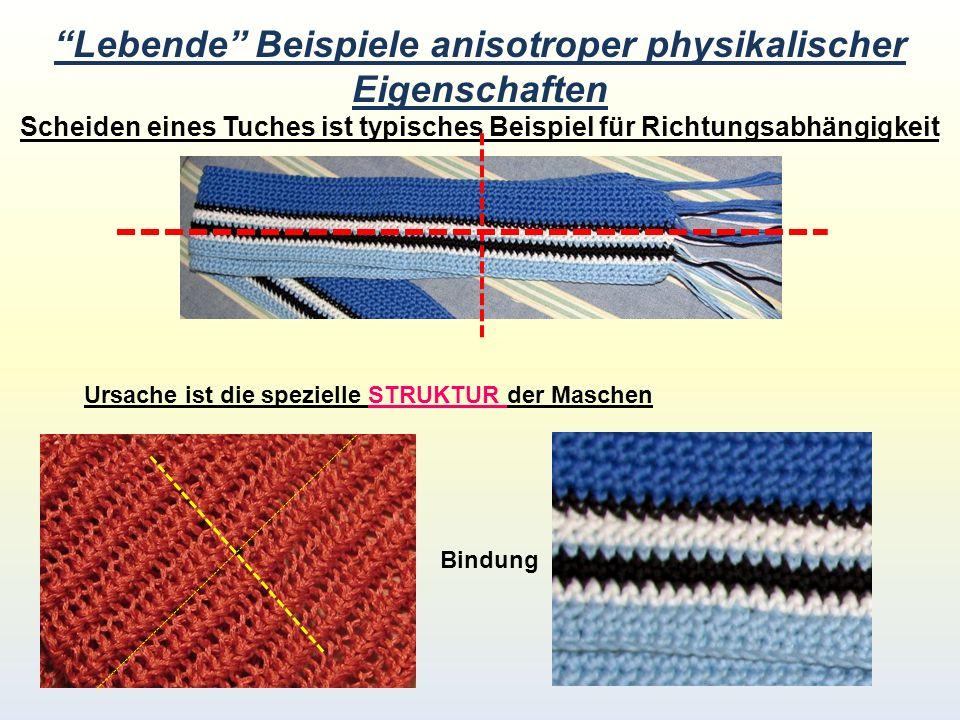 Lebende Beispiele anisotroper physikalischer Eigenschaften