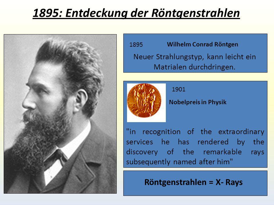 1895: Entdeckung der Röntgenstrahlen