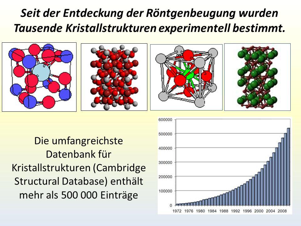 Seit der Entdeckung der Röntgenbeugung wurden Tausende Kristallstrukturen experimentell bestimmt.