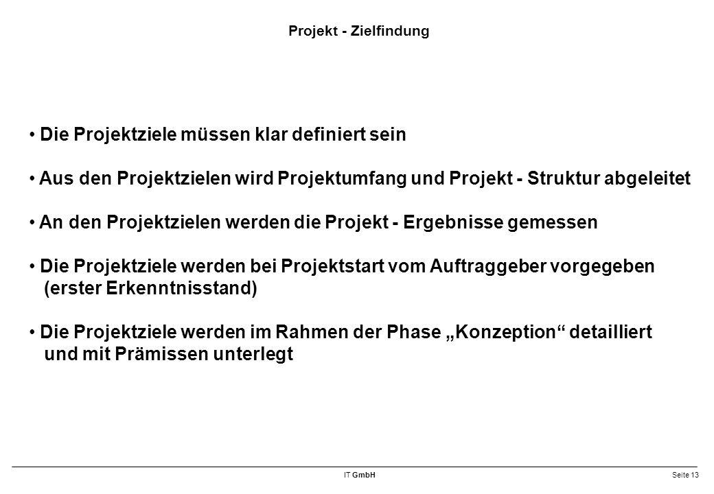 Die Projektziele müssen klar definiert sein