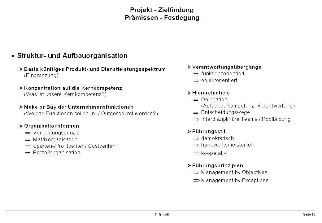 Projekt - Zielfindung Prämissen - Festlegung