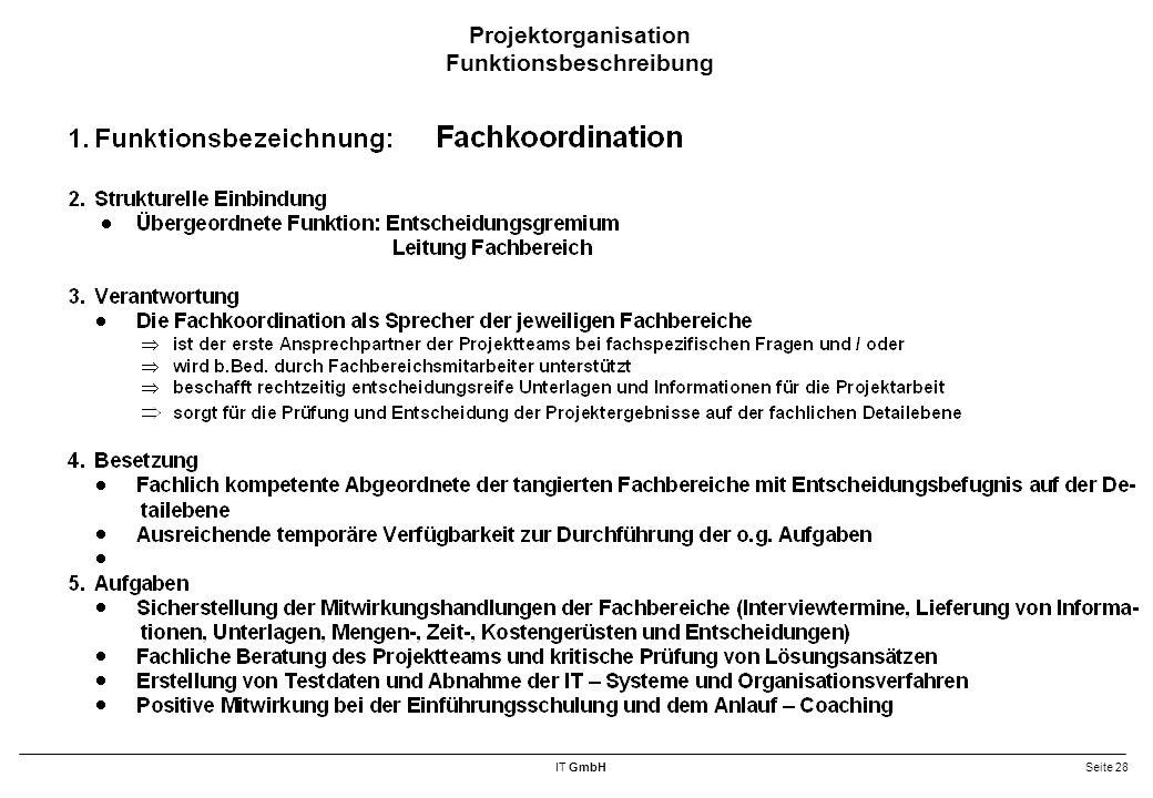 Projektorganisation Funktionsbeschreibung