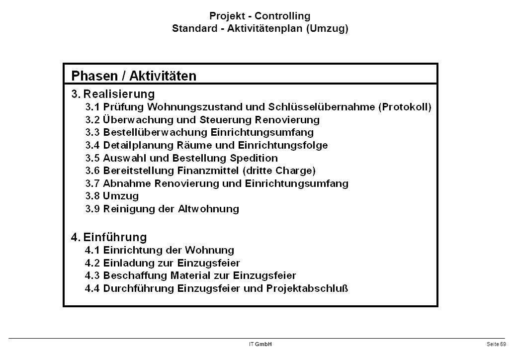 Projekt - Controlling Standard - Aktivitätenplan (Umzug)