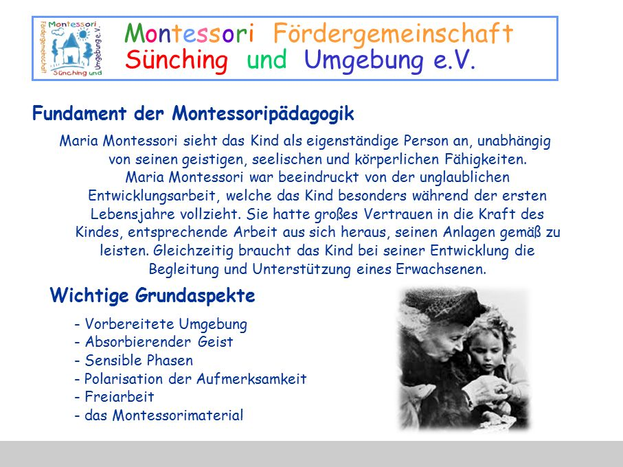 Fundament der Montessoripädagogik