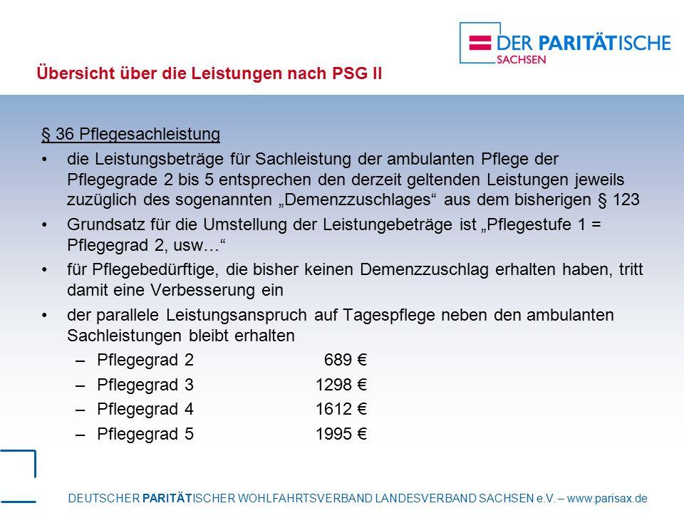 Übersicht über die Leistungen nach PSG II