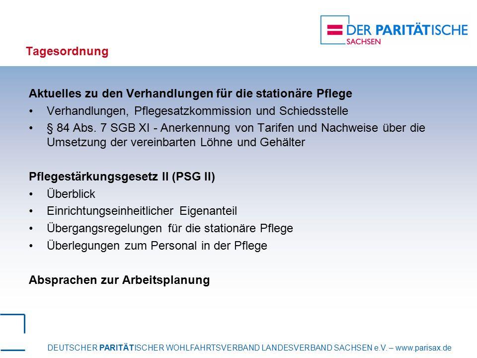 Tagesordnung Aktuelles zu den Verhandlungen für die stationäre Pflege. Verhandlungen, Pflegesatzkommission und Schiedsstelle.
