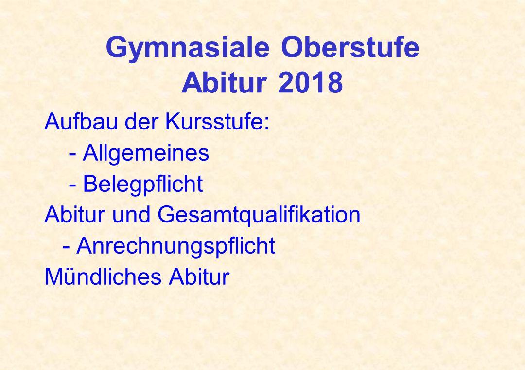 Gymnasiale Oberstufe Abitur 2018
