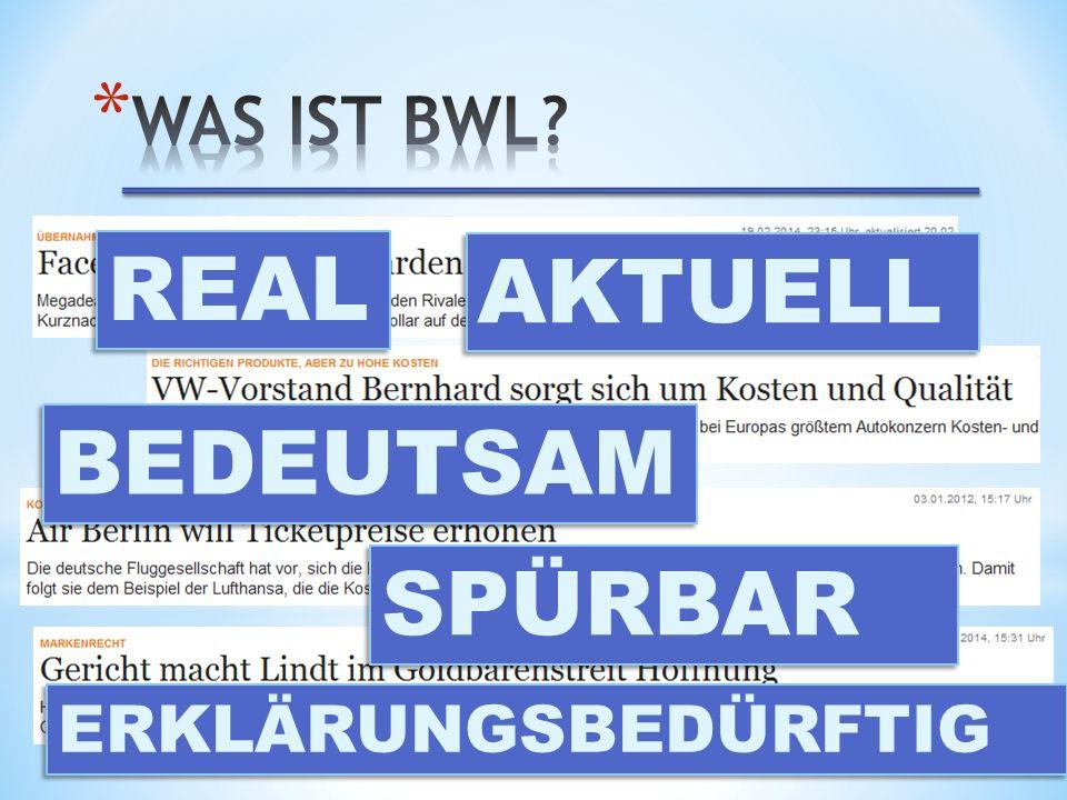 Was ist BWL REAL AKTUELL BEDEUTSAM SPÜRBAR ERKLÄRUNGSBEDÜRFTIG