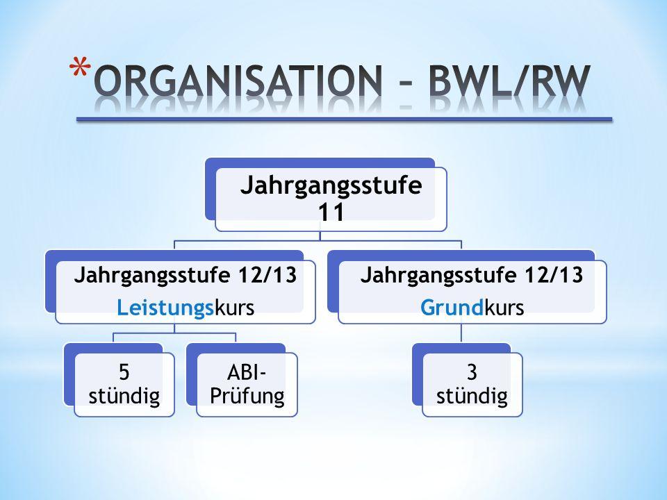 ORGANISATION – BWL/RW Jahrgangsstufe 11 Jahrgangsstufe 12/13