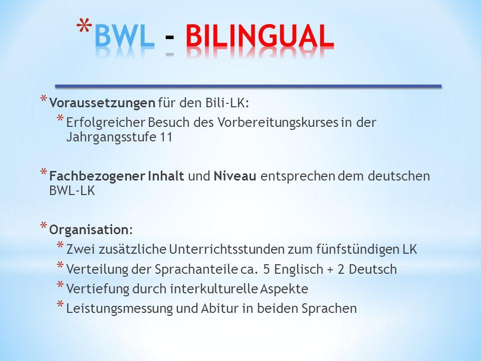 BWL - Bilingual Voraussetzungen für den Bili-LK: