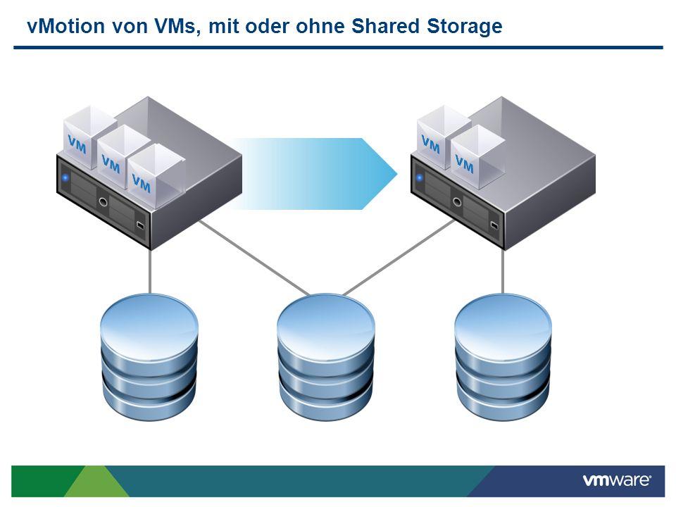 vMotion von VMs, mit oder ohne Shared Storage
