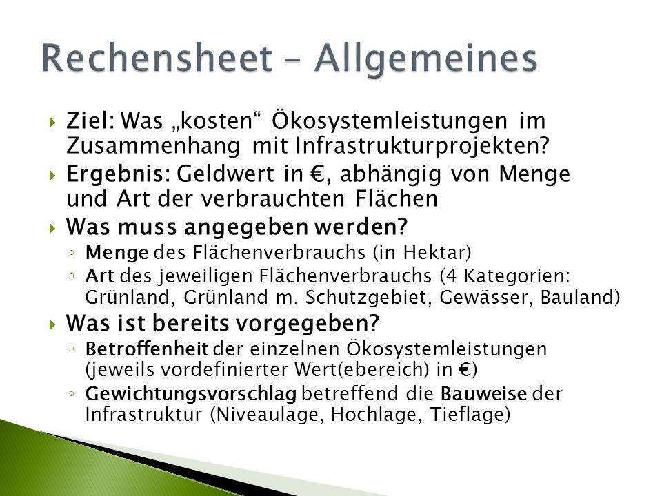Rechensheet – Allgemeines