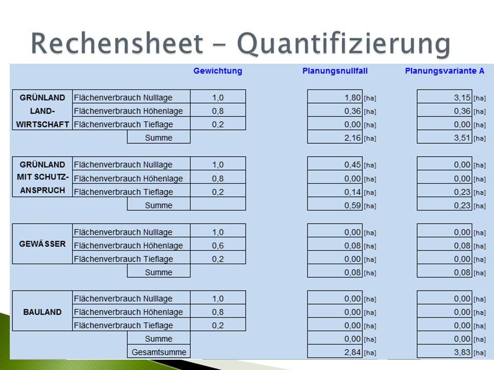 Rechensheet - Quantifizierung