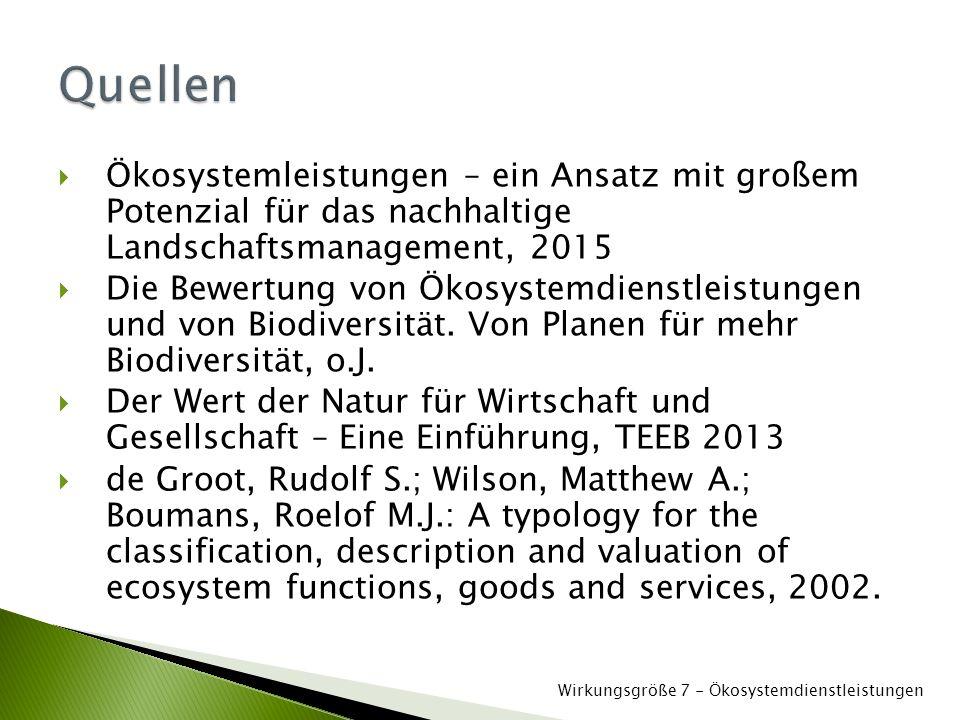 Quellen Ökosystemleistungen – ein Ansatz mit großem Potenzial für das nachhaltige Landschaftsmanagement, 2015.