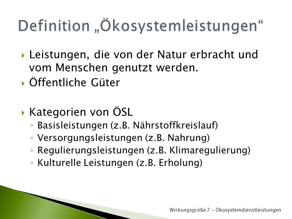"Definition ""Ökosystemleistungen"