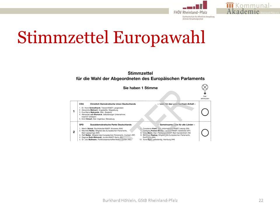 Stimmzettel Europawahl