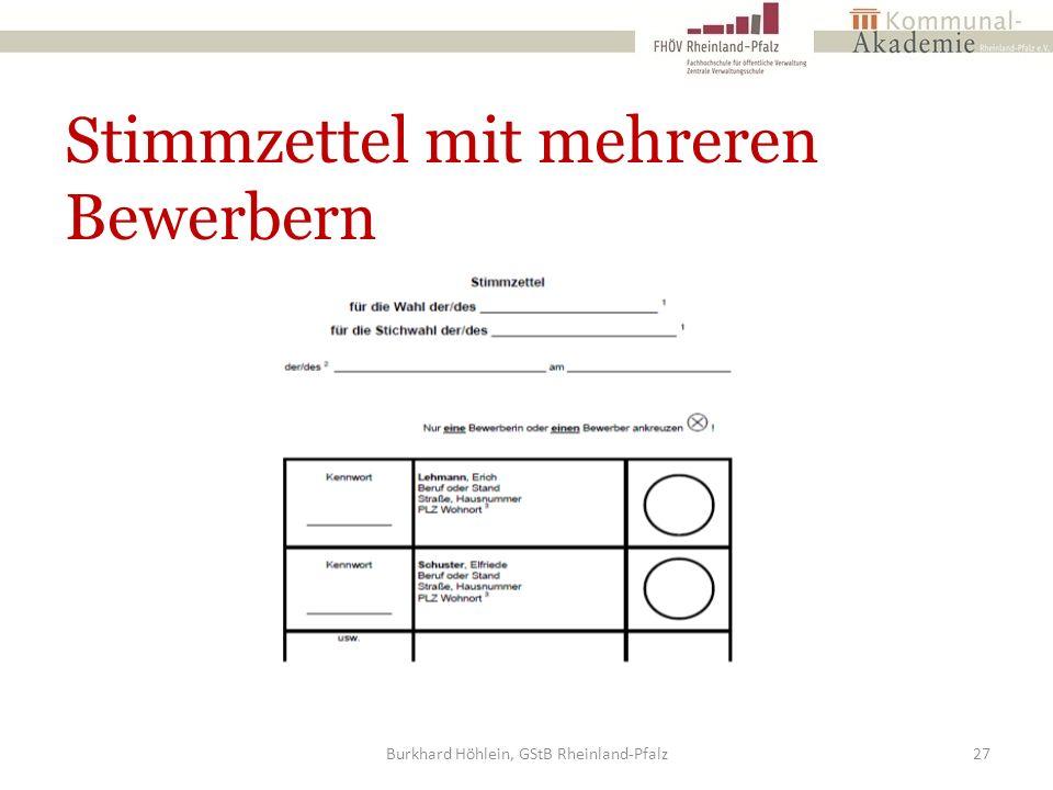 Stimmzettel mit mehreren Bewerbern