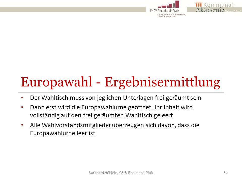 Europawahl - Ergebnisermittlung