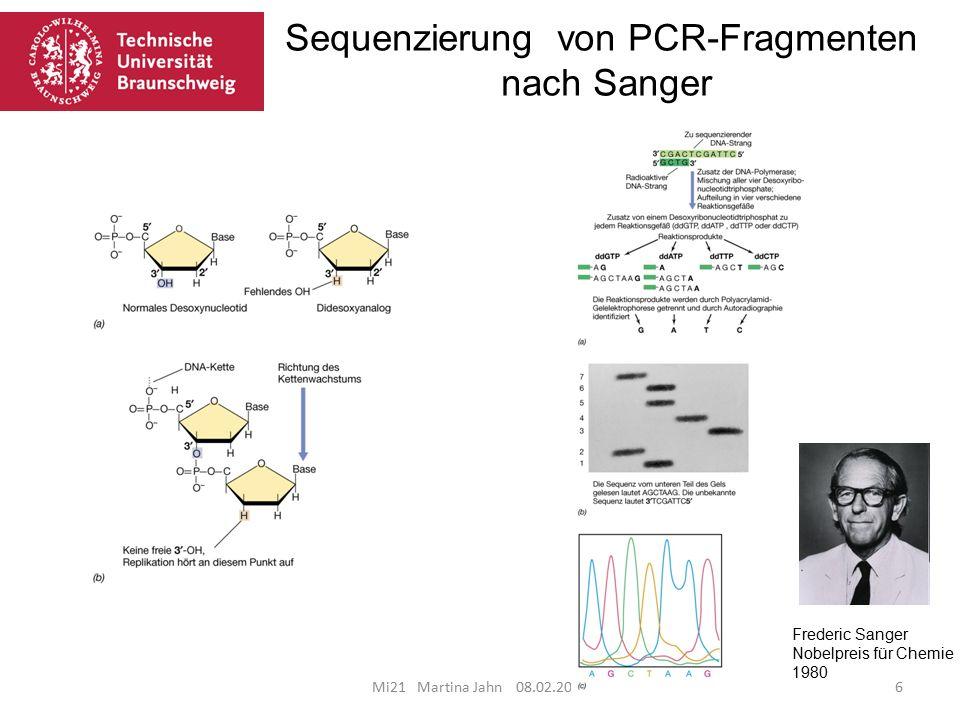 Sequenzierung von PCR-Fragmenten nach Sanger