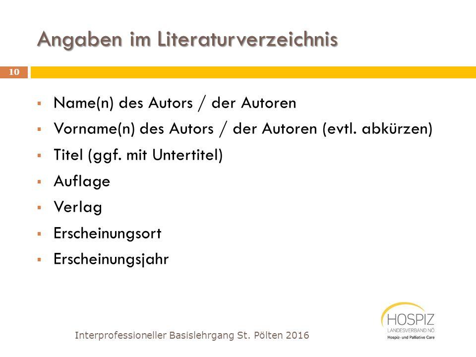 Angaben im Literaturverzeichnis