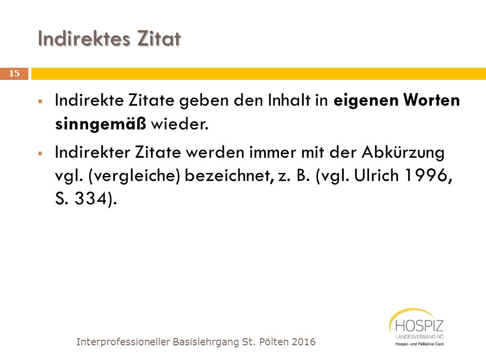 Interprofessioneller Basislehrgang Palliative Care St. Pölten 2016