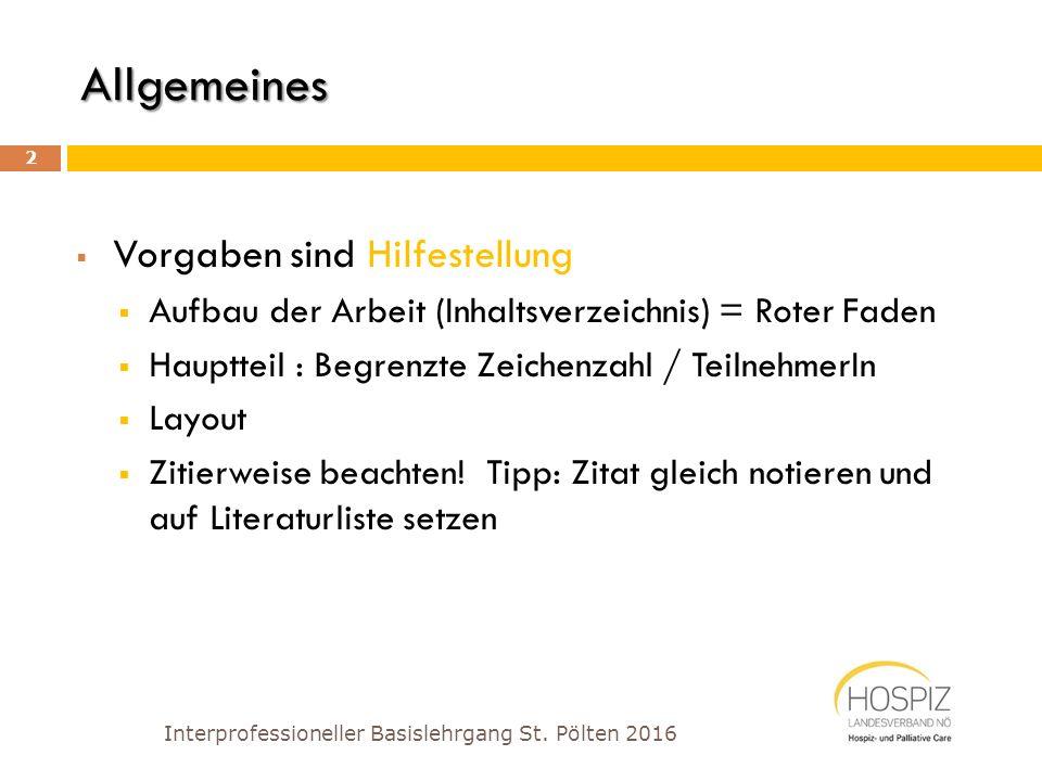 Interprofessioneller Basislehrgang Palliative Care St. Pölten 2016