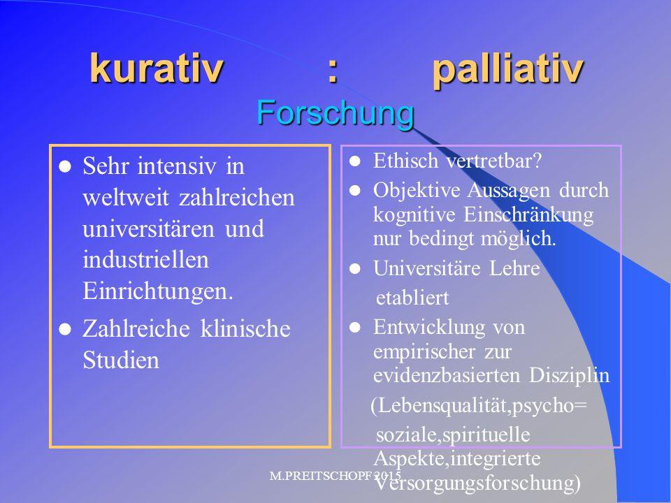 kurativ : palliativ Forschung