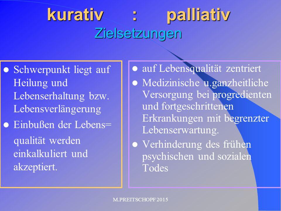 kurativ : palliativ Zielsetzungen