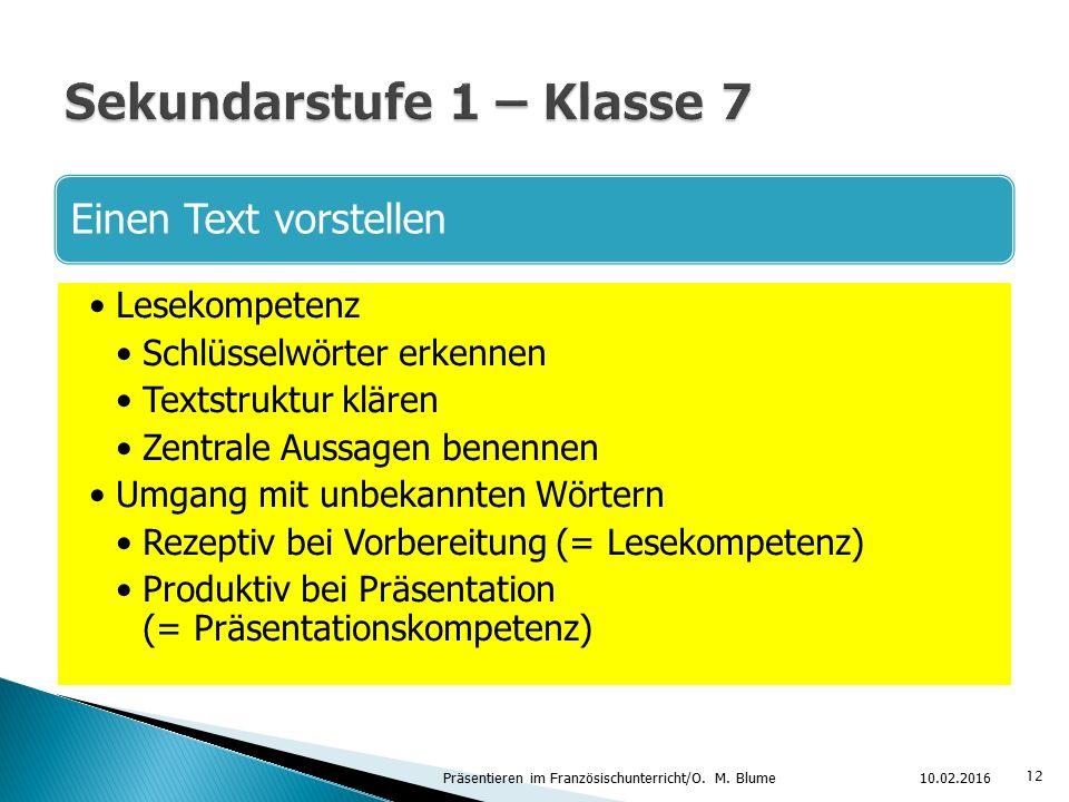 Sekundarstufe 1 – Klasse 7