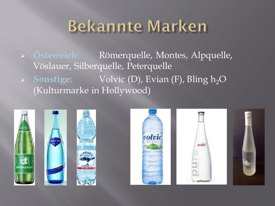 Bekannte Marken Österreich: Römerquelle, Montes, Alpquelle, Vöslauer, Silberquelle, Peterquelle.