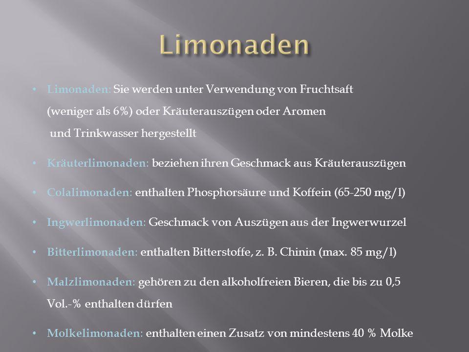 Limonaden Limonaden: Sie werden unter Verwendung von Fruchtsaft