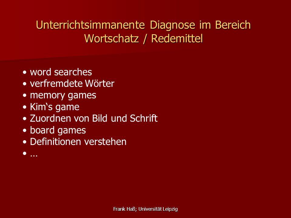 Unterrichtsimmanente Diagnose im Bereich Wortschatz / Redemittel