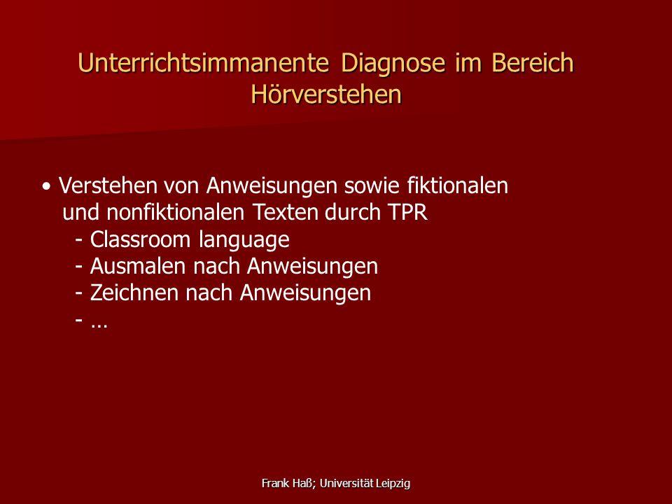 Unterrichtsimmanente Diagnose im Bereich Hörverstehen