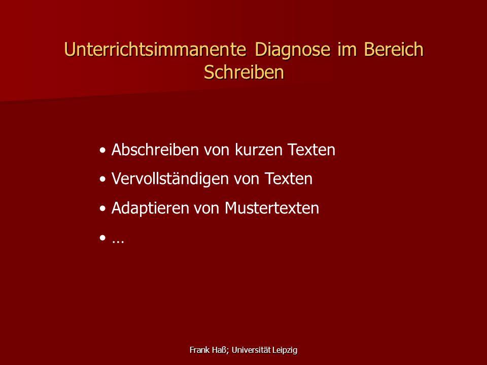 Unterrichtsimmanente Diagnose im Bereich Schreiben