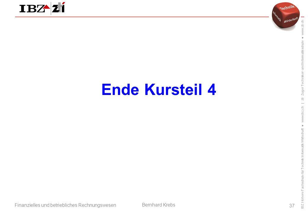Ende Kursteil 4 Betriebsorganisation