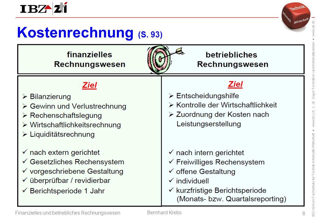 Kostenrechnung (S. 93) Betriebsorganisation