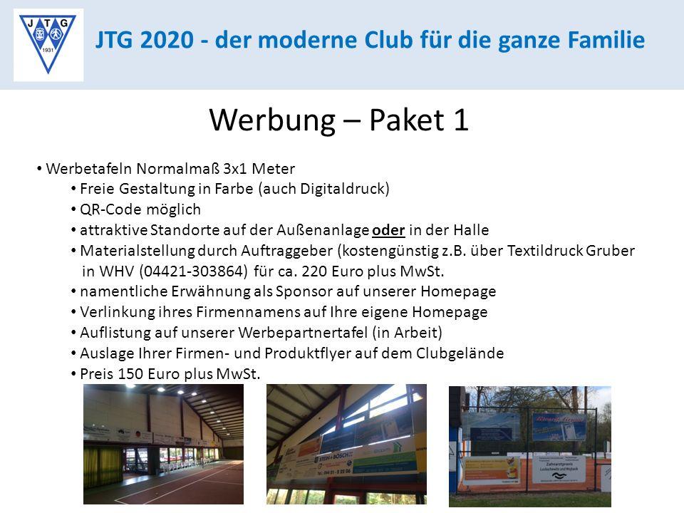 Werbung – Paket 1 JTG 2020 - der moderne Club für die ganze Familie