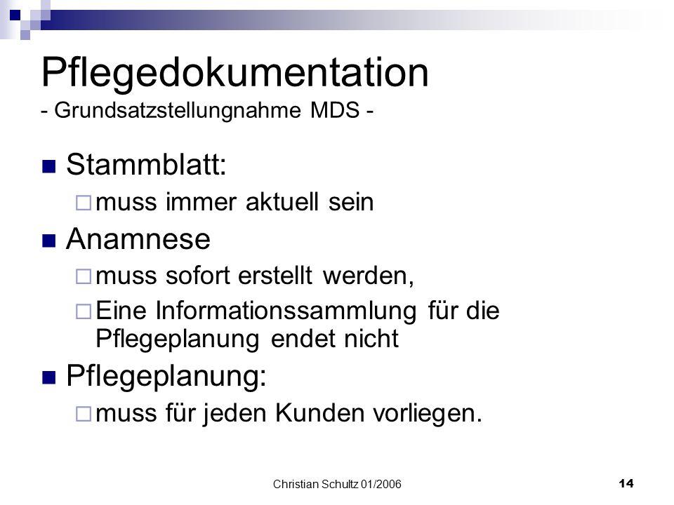 Pflegedokumentation - Grundsatzstellungnahme MDS -
