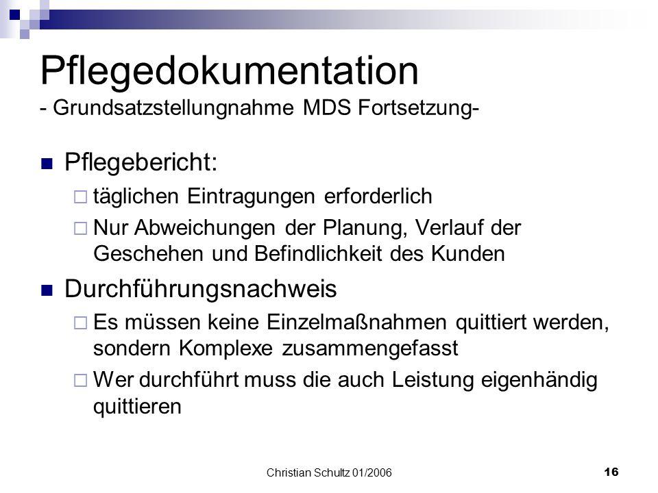 Pflegedokumentation - Grundsatzstellungnahme MDS Fortsetzung-