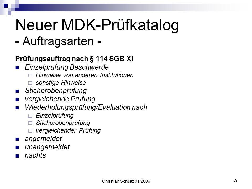 Neuer MDK-Prüfkatalog - Auftragsarten -